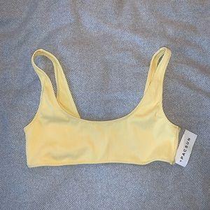 PACSUN Yellow Ribbed Bikini Top